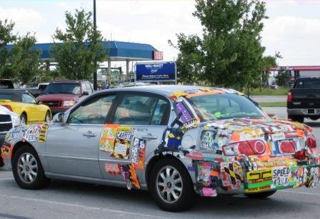 Sticker Covered Car