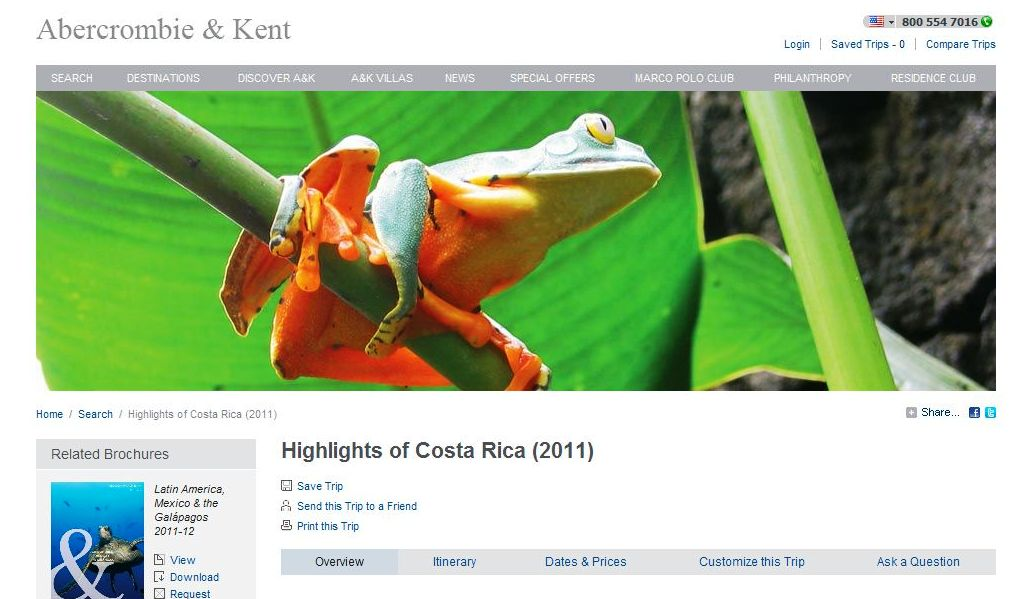 Abercrombie & Kent - Waiving Single Supplement Fee on 'Highlights of Costa Rica