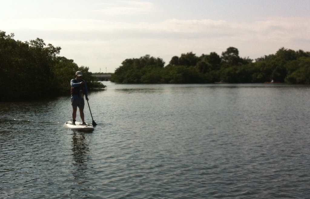 "David McRee, ""The Beach Hunter"", Mastering Stand Up Paddleboarding from Grande Tours, Placida, Fla."