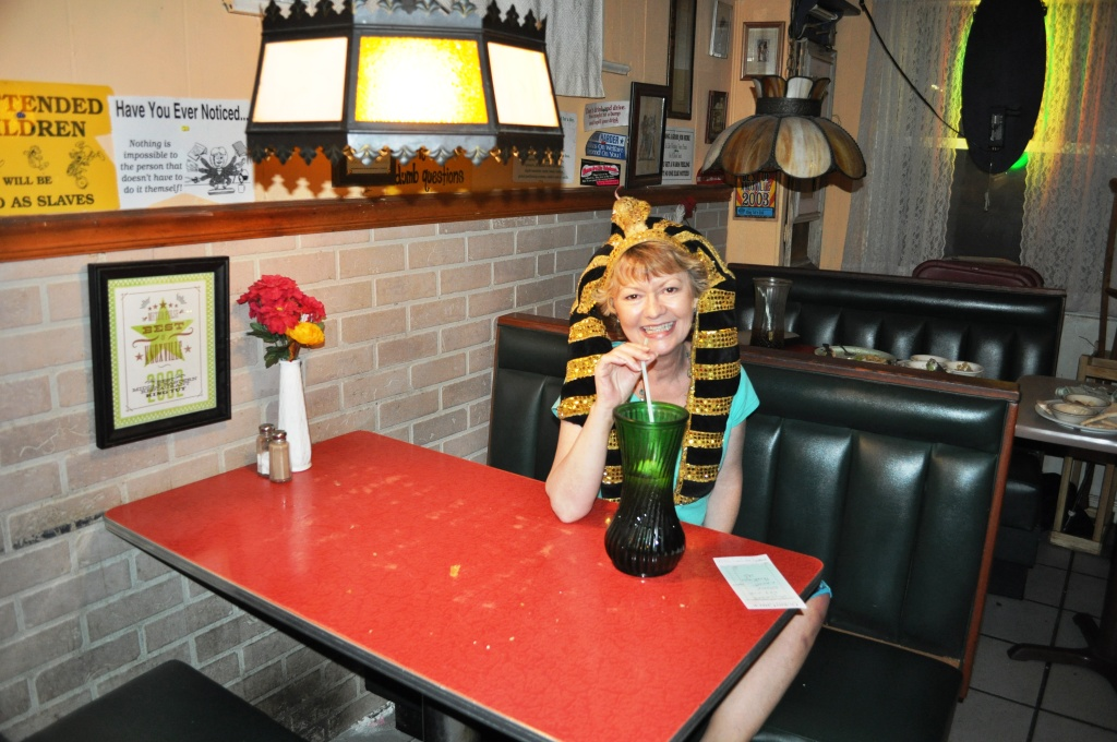 Headress and Drinking Out Vases at King Tut's Grill, Knoxville, Tenn.