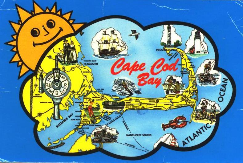 Cape Cod Bay Postcard Sent circa 1977