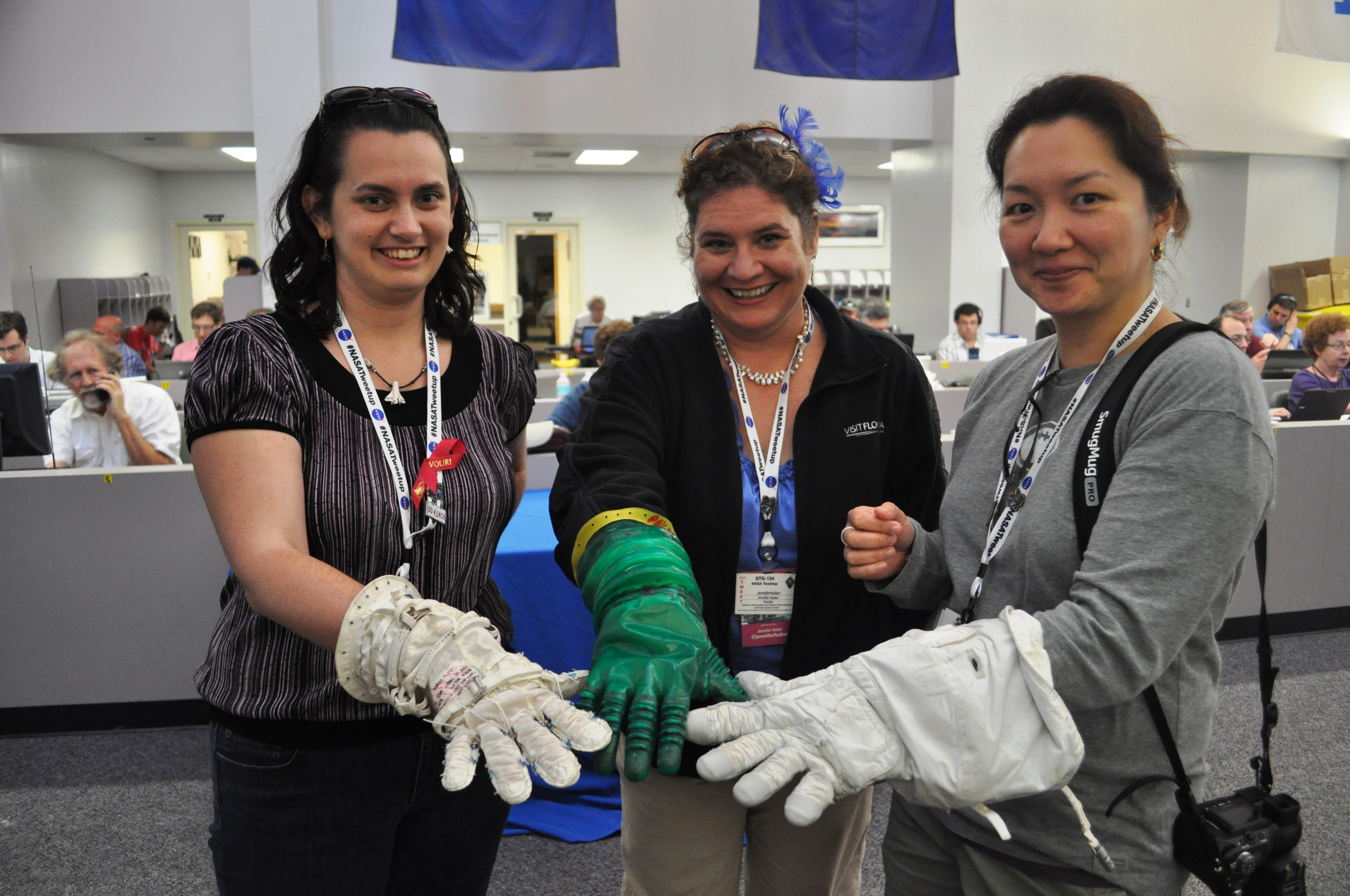 Me (Center) with Jillian Davis (L) and Linda Seid Frembes (R) NASA Tweetup for STS-134 Final Launch of Space Shuttle Endeavour, May 16, 2011