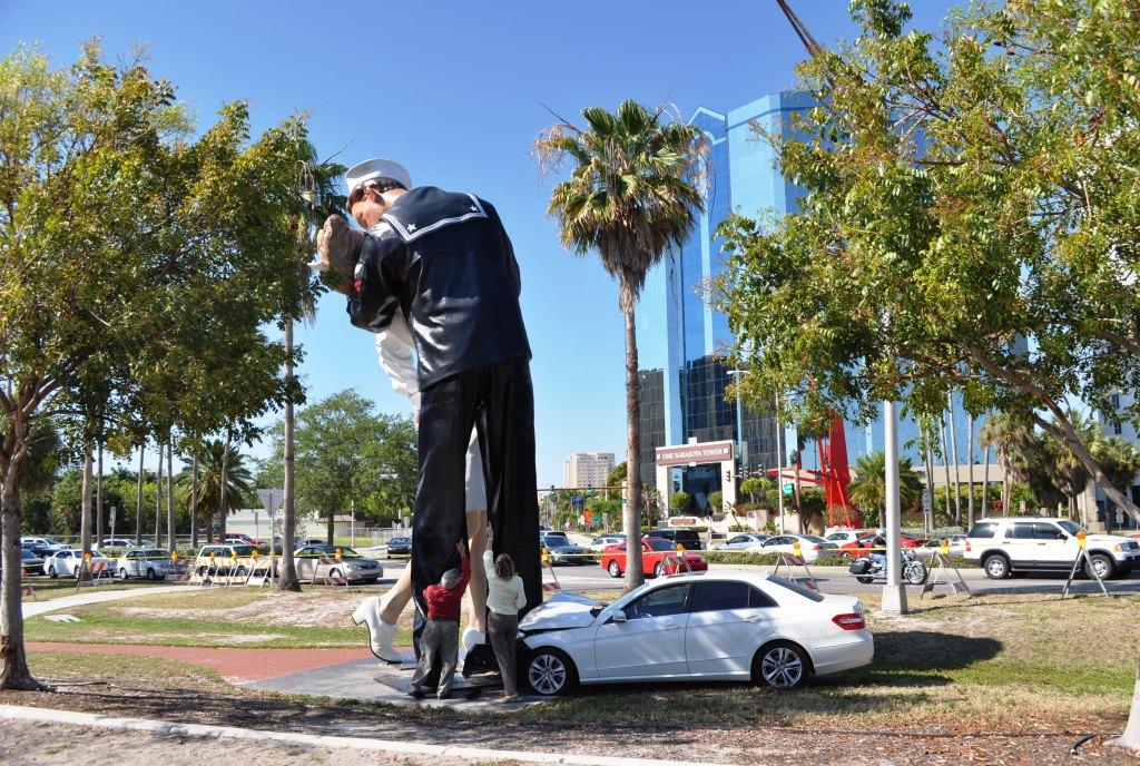 """Car Hits Foot of """"Unconditional Surrender"""" , Sarasota, Fla., April 26, 2012"""