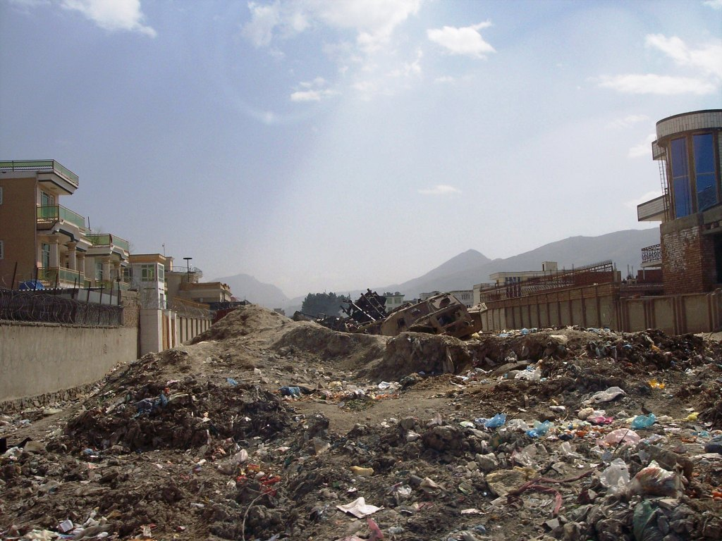 Trash in Kabul, Afghanistan, Street, March 2006