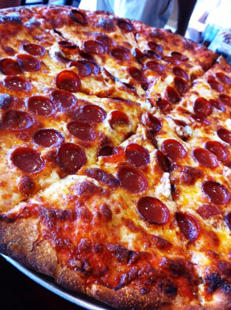 Small Pepperonis and Lots of Cheese Make it Buffalo-Style at Casa-Di-Pizza in Sarasota, Florida.