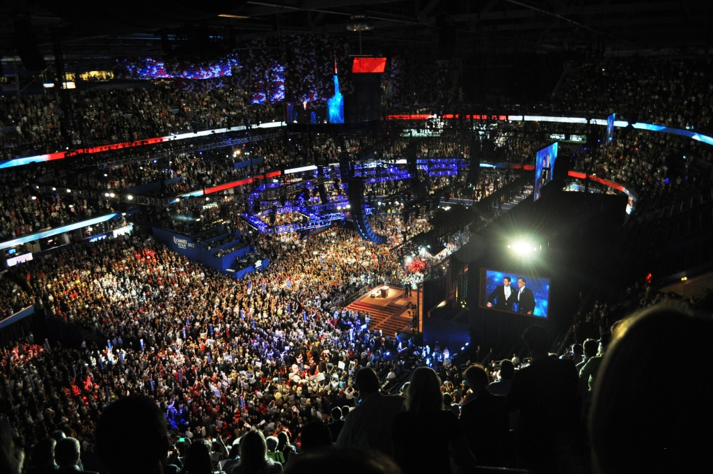GOP Presidential Candidate Mitt Romney and Paul Ryan on Stage during the Republican National Convention in Tampa, Aug. 30, 2012