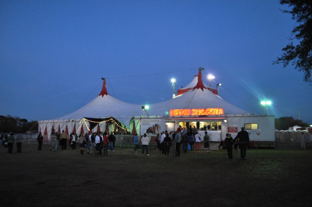 Circus Sarasota's Ticket Booth at Twilight, Sarasota, Fla., Feb. 15, 2013