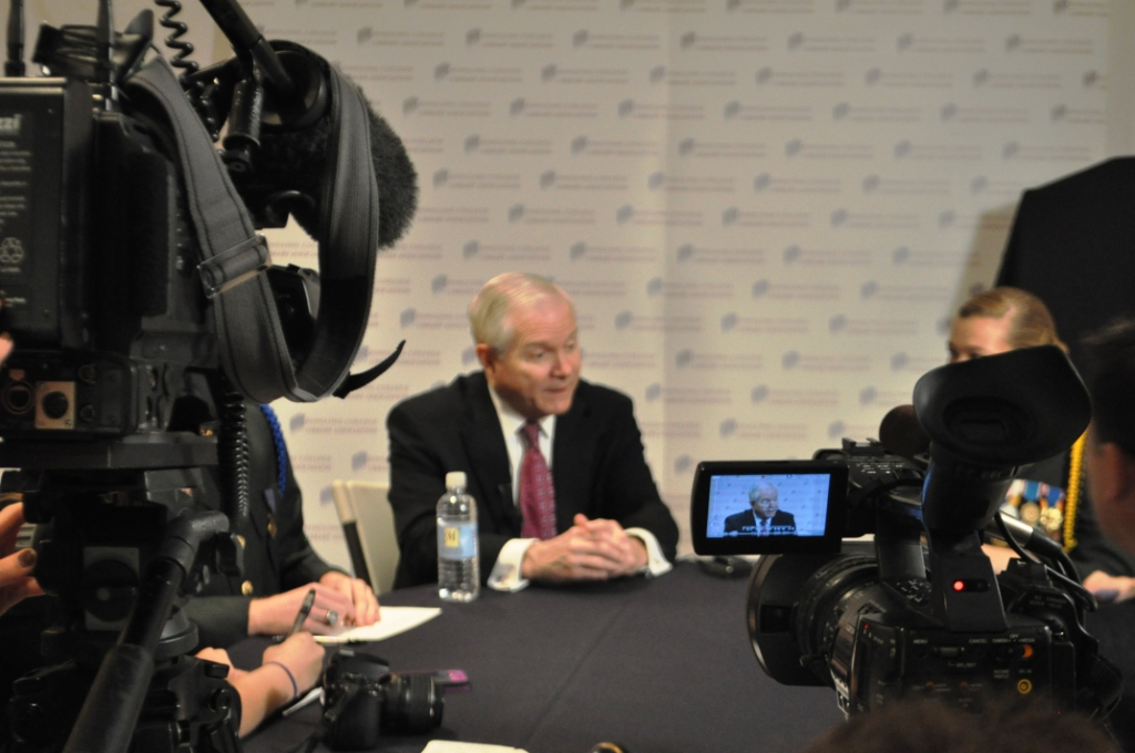 Former U.S. Secretary of Defense Dr. Robert Gates Fields Questions Ranging from Women in Combat to Afghanistan during a Press Conference in Sarasota, Fla., Feb. 5, 2013