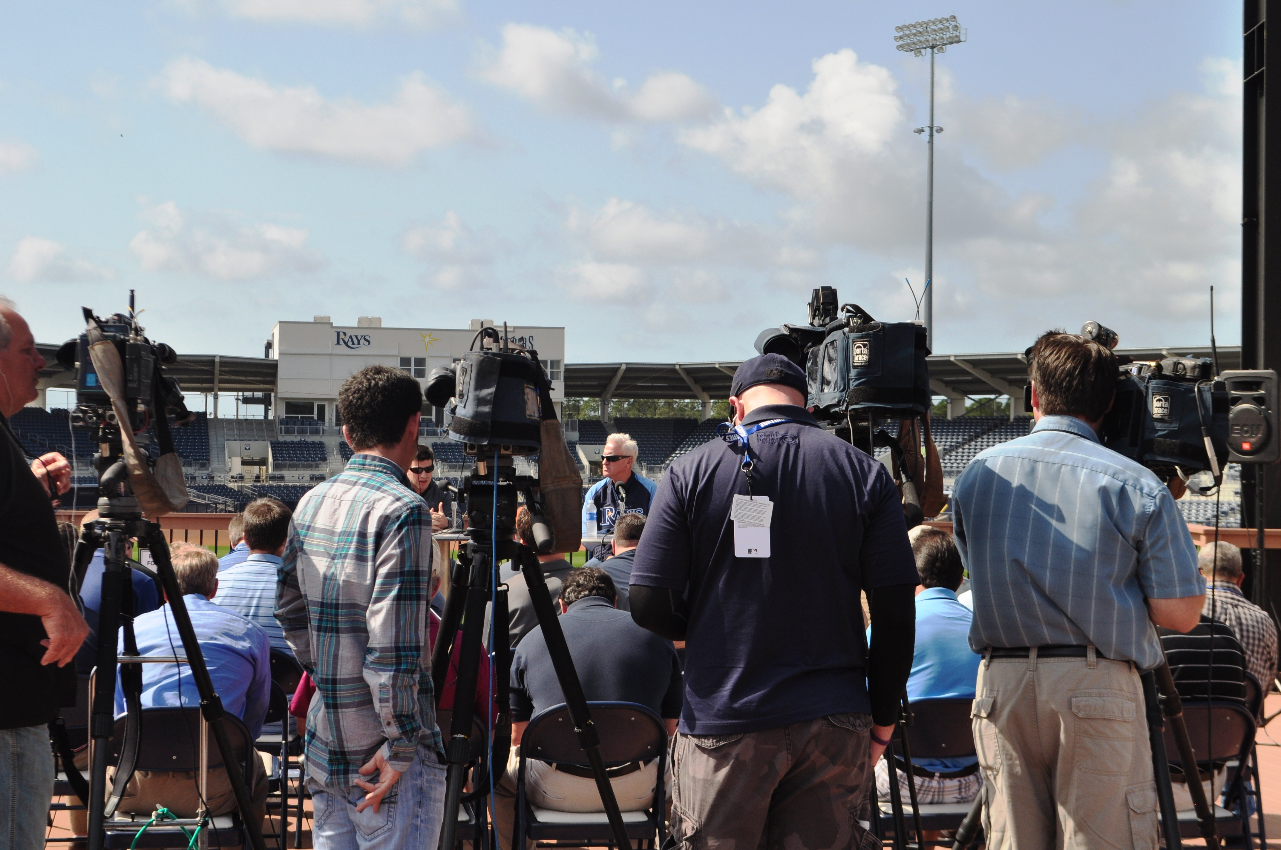 General Manager Andrew Friedman and Manager Joe Maddon answer questions from the media during the Tampa Bay Rays press conference at the Charlotte Sports Park in Port Charlotte, Fla., Feb. 12, 2013