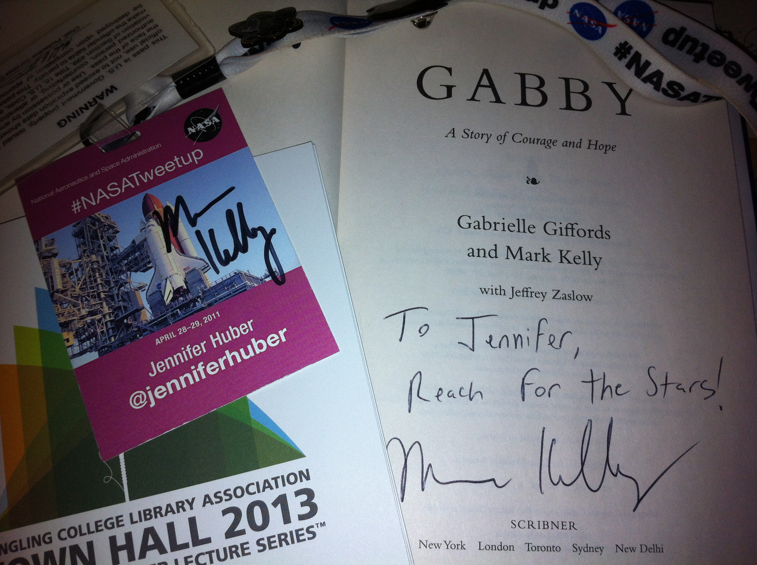 "*SQUEE!* Capt. Mark Kelly Signed his Book ""Gabby"" and My #NASATweetup Badge!"