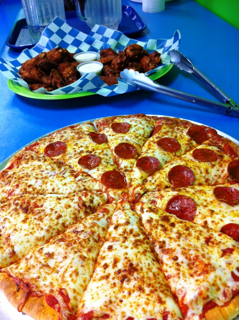 Mmm, Pizza and Wings! Pretty Dang Tasty.