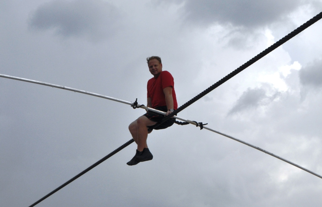 Nik Wallenda Holds Q&A While Training on the Wire in Sarasota for June 23 Grand Canyon Walk