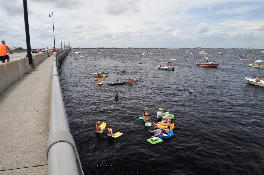 They Came, They Swam, They Bobbled Across the Peace River for Charlotte Harbor Freedom Swim