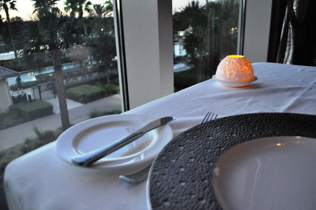 Table for One with a View at Bull & Bear Restaurant, Waldorf Astoria Orlando