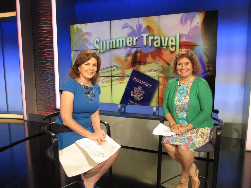 Solo Travel Girl On the Set of WFLA with Anchor Yolanda Fernandez (left), May 24, 2104