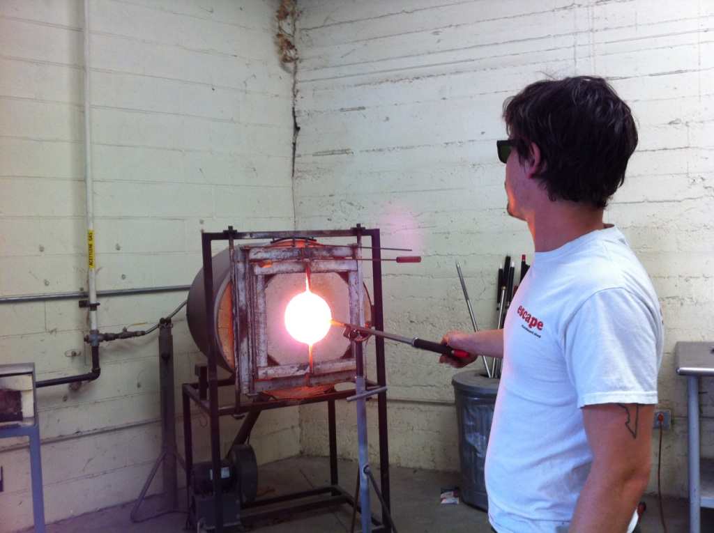 Glassblower Seth Hendrick with Sunspots Studios Helped Me Create a Beautiful Glass Ornament, Staunton, Va.