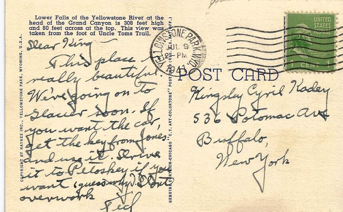 "This 1947 Visitor to Yellowstone National Park Sent a Postcard Home Describing the Park as ""Beautiful"""