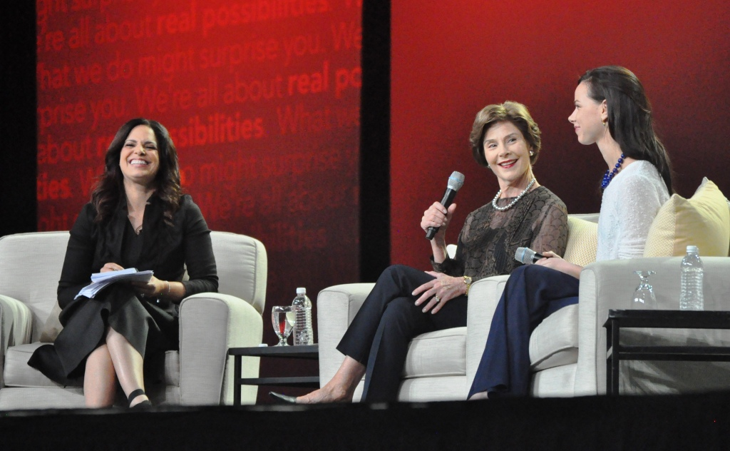 Soledad O'Brien Interviews Former First Lady Laura Bush and Barbara Pierce Bush During AARP Life@50+ in Boston, Mass., May 9, 2014