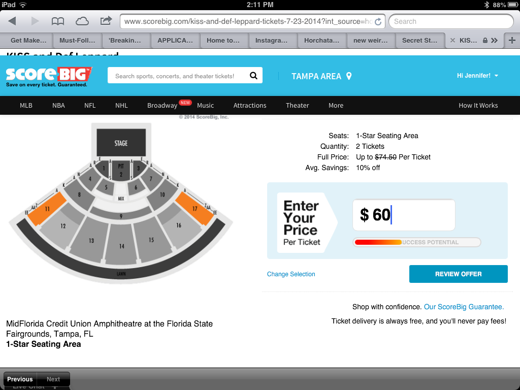 Placing My Bid for Def Leppard and KISS Concert Tickets on ScoreBig.com