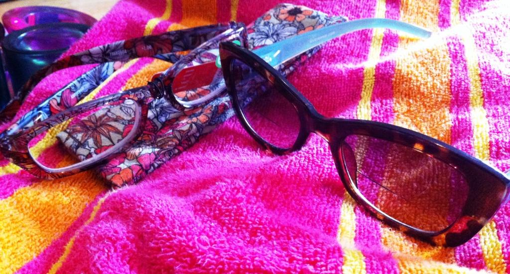 Orange Oval Floral Pattern Readers and Light Blue Cat Eye Bifocal Reading Sunglasses by ICU Eyewear
