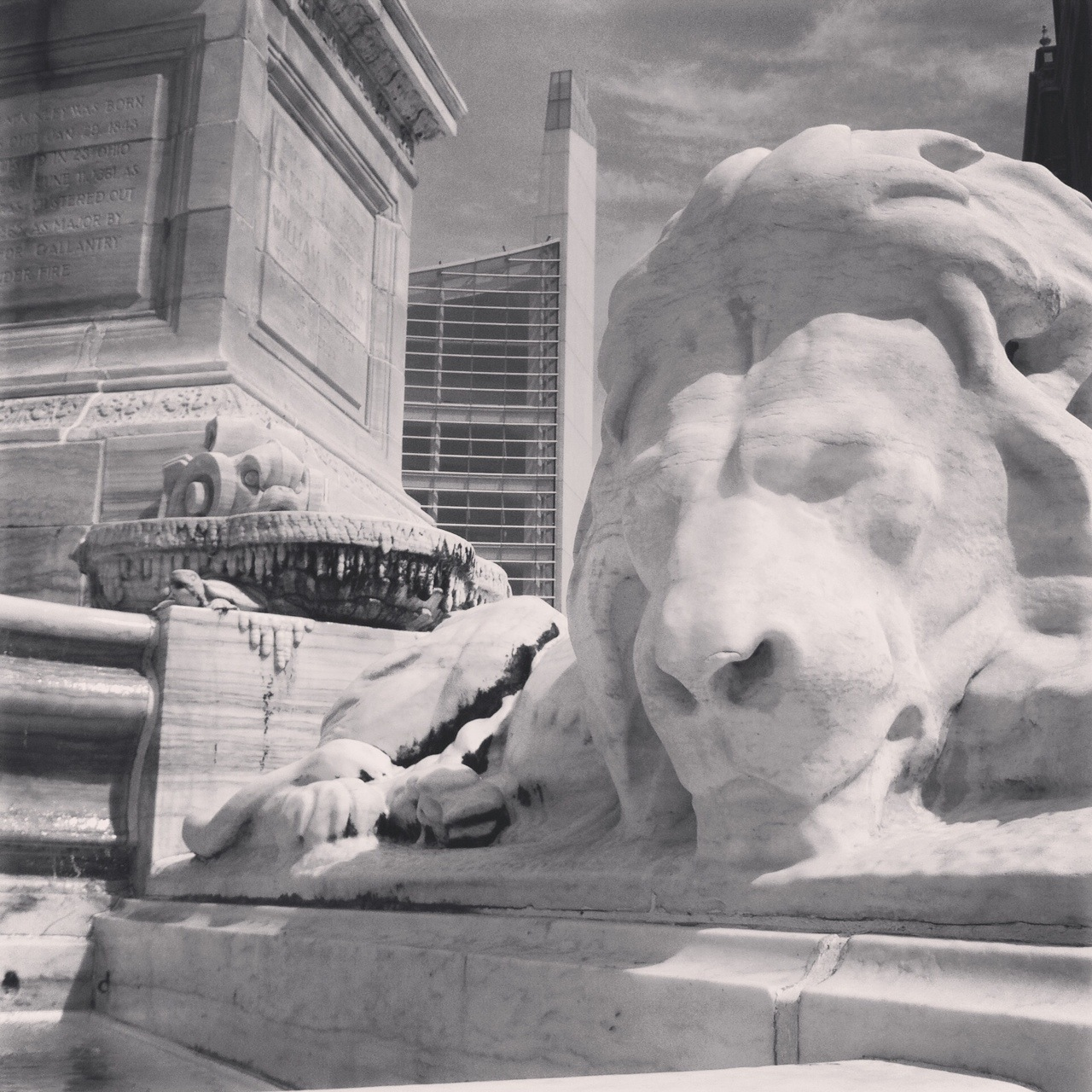 Lion at the Niagara Square Fountain in Front of Buffalo's City Hall, Aug. 2014