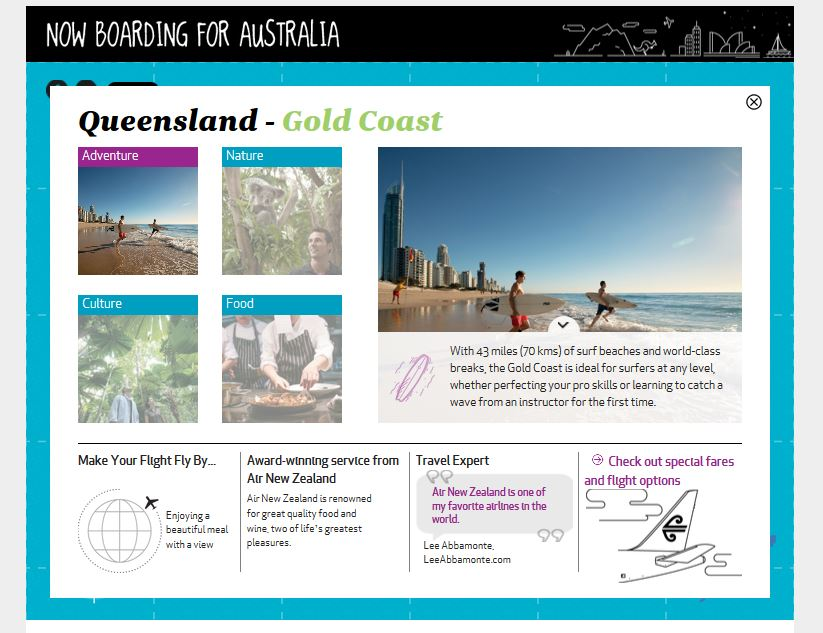 Tourism Australia and Air New Zealand Have Teamed Up to Create This Interactive Infographic Map to Plan an Australian Vacation