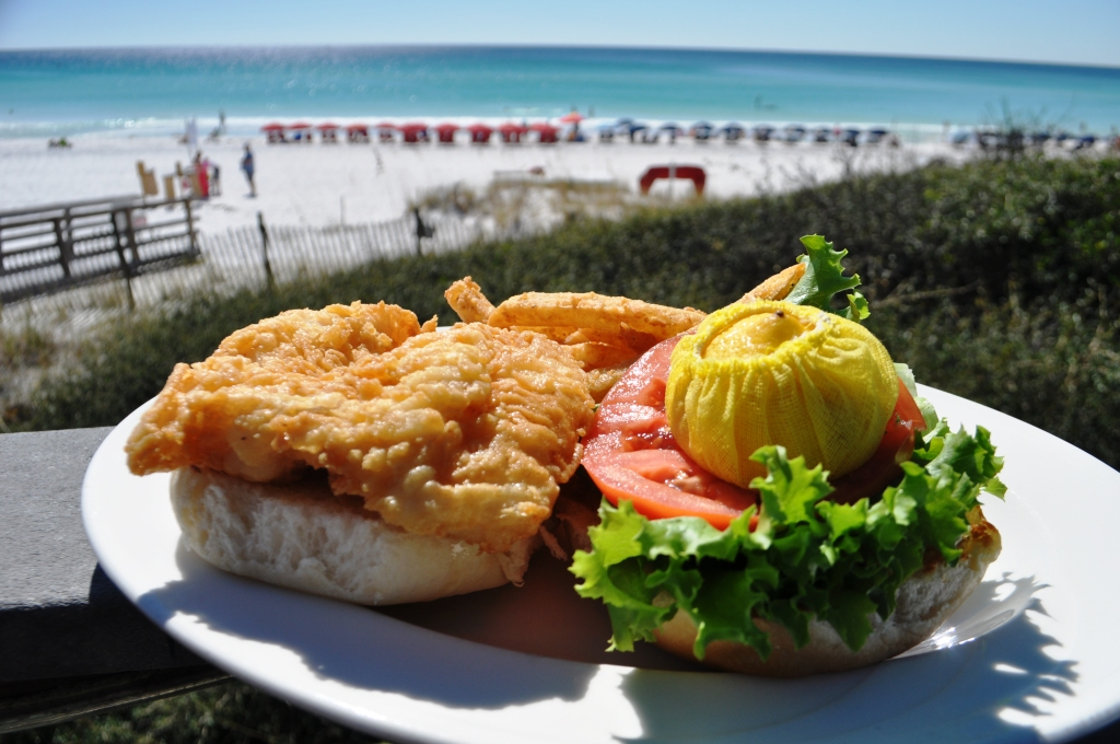 Crispy Grouper Sandwich with a Beach View at Elephant Walk in Sandestin (Note: the lemon isn't served on top, I put it there.)