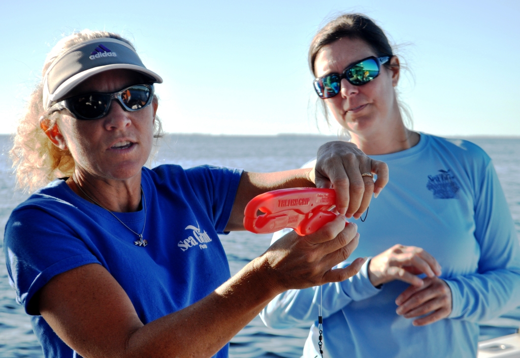 Florida Sea Grant Extension Agents Betty Staugler and Joy Hazell Demonstrate Fish Descending Devices, Oct. 2014