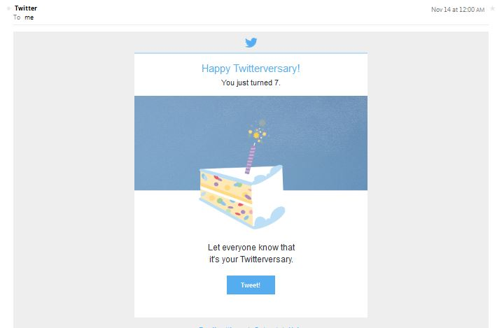 My #Twitterversary Greeting from Twitter, Nov. 14, 2014