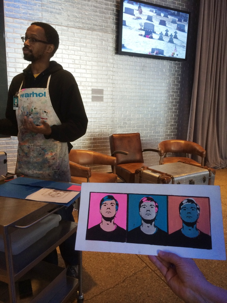 Screen printing demo at the Andy Warhol Museum.