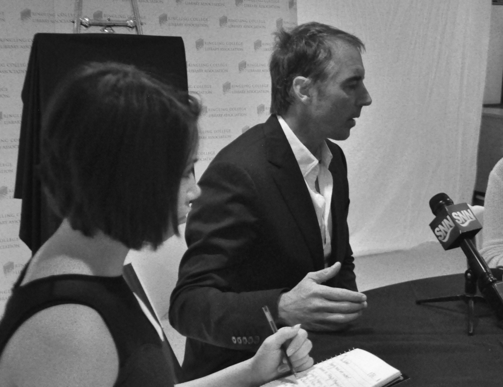 Dan Buettner Meets with Sarasota Media Prior to His Talk as Part of the Ringling College Library Association Lecture Series, Feb. 23, 2015