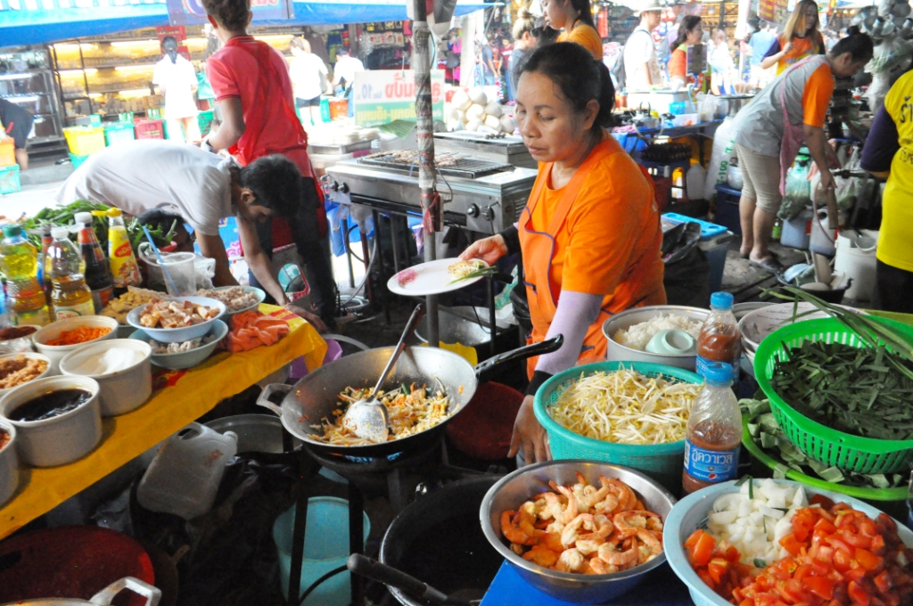 Pad Thai Vendor at the Chatuchak Market in Bangkok, Thailand, March 28, 2015