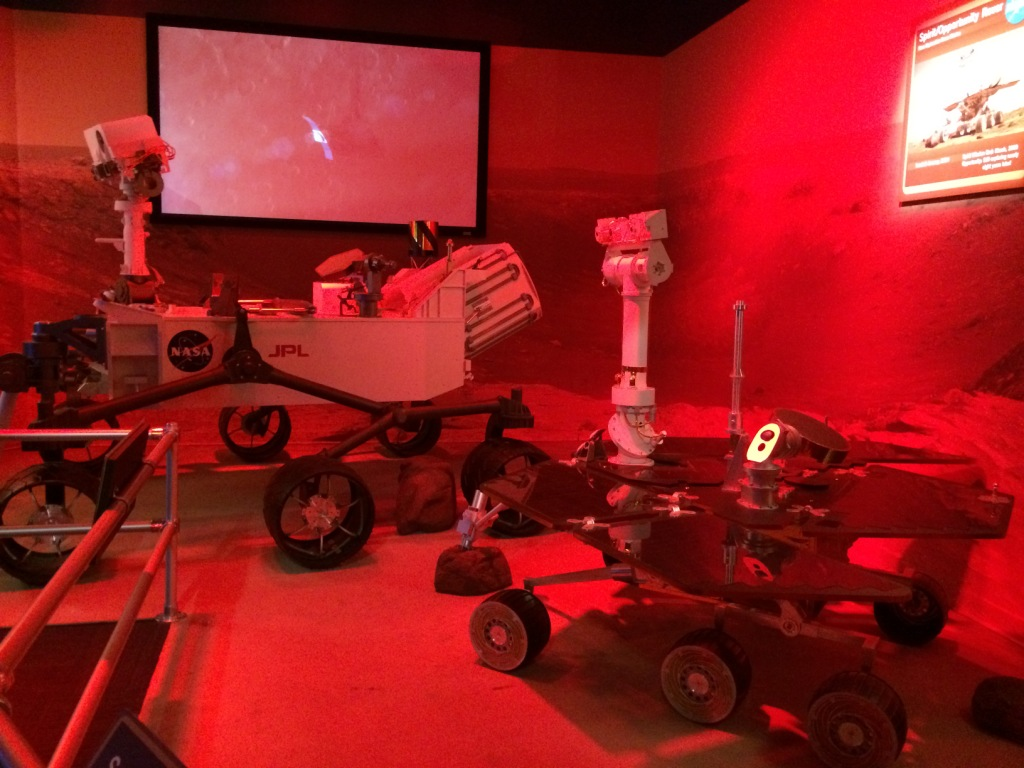 Mars Rover Replicas at the Journey to Mars: Explorers Wanted Exhibit at the Kennedy Space Center, Fla., Oct. 2015