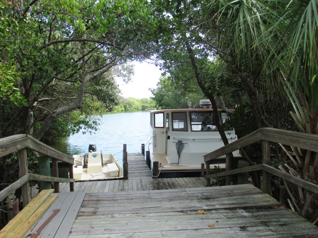Captiva Cruises' boat docked at Don Pedro Island State Park's dock.