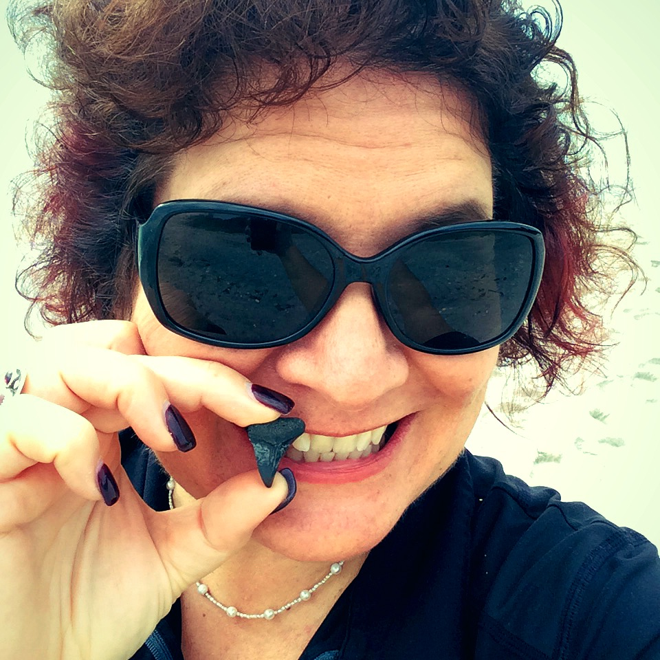 My Shark Tooth Selfie with My Unexpected Treasure, Blind Pass Beach, Fla, Jan. 31, 2016