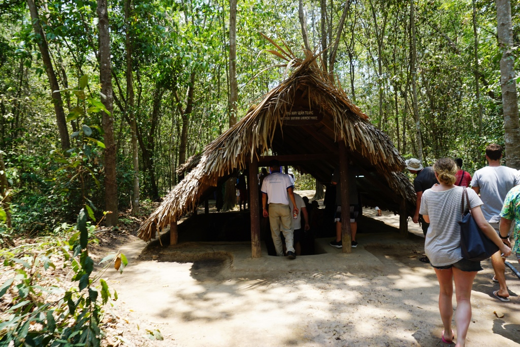 Visitors to the Cu Chi Tunnels in Vietnam, April 2016