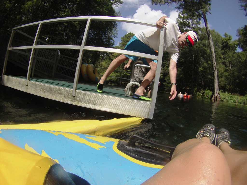 Incoming! Disembarking the Ichetucknee River at Dampiers Landing Dock in Ichetucknee Springs State Park, Aug. 2015.