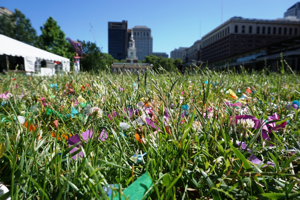 Colorful Confetti from 2016 Pride Weekend Sprinkles the Lawn in Front of Independence Hall in Philadelphia, June 12, 2016
