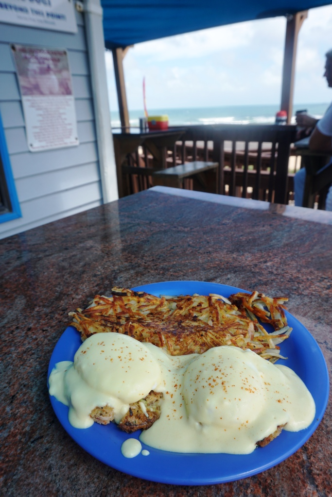 Crab Benedict and a View at the Java Joint in Flagler Beach, Florida.