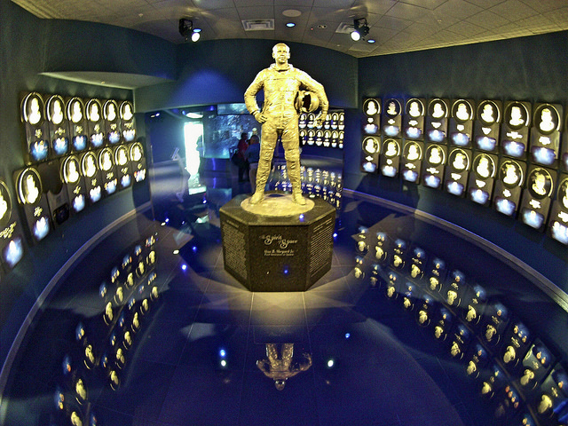 A Statue of Alan Sheppard, the First American in Space, Welcomes Visitors into the U.S. Astronaut Hall of Fame at the Kennedy Space Center, Fla.