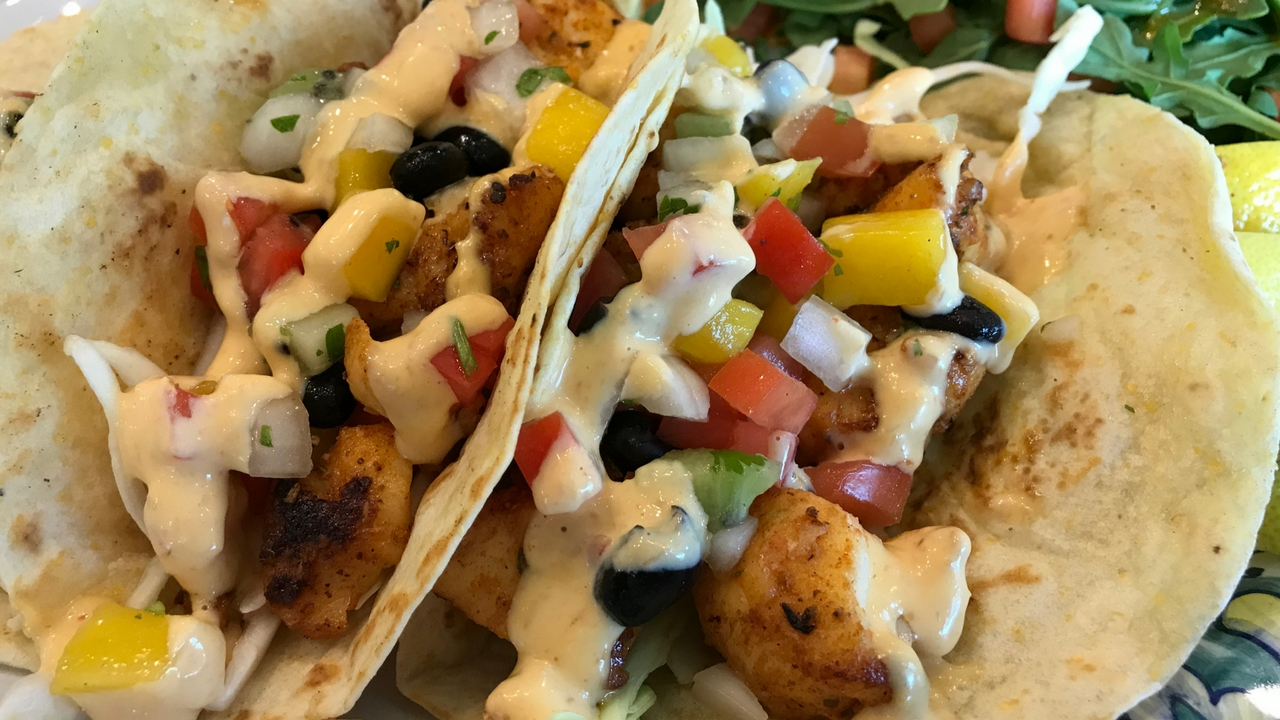 Domestic Black Grouper Tacos from Farlow's on the Water, Englewood, Fla.