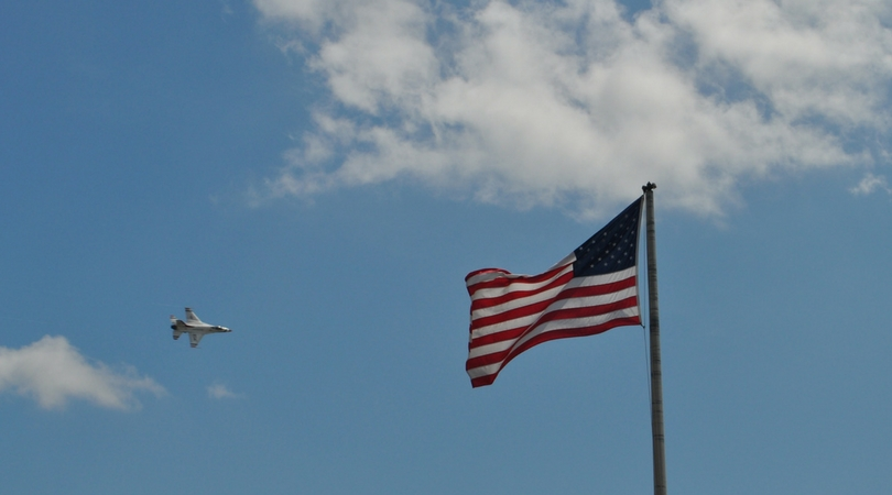 American Flag Waves During the Florida International Air Show in Punta Gorda, Fla., with Arrival of the U.S.A.F. Thunderbirds