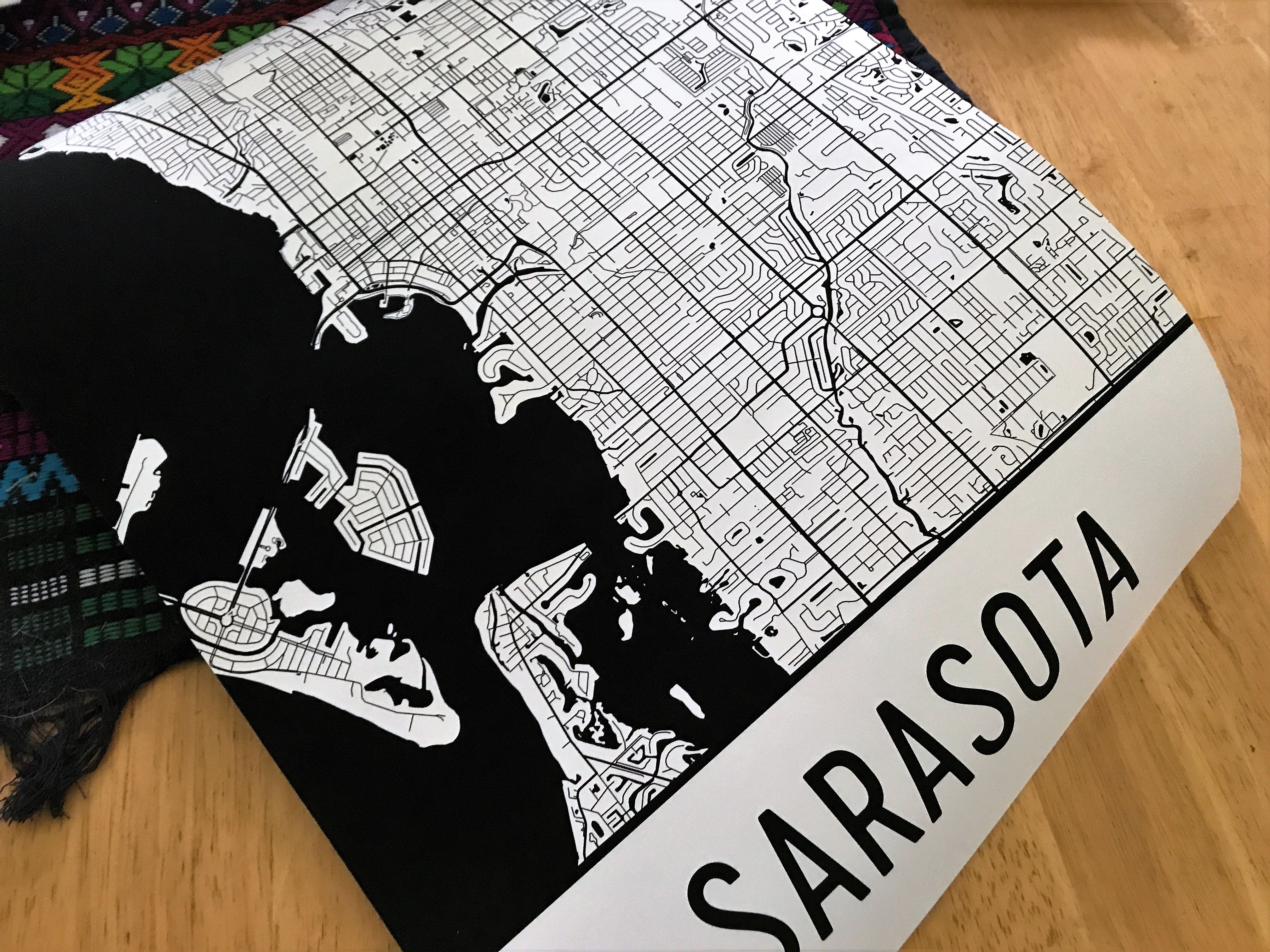 Sarasota Street Map Poster by Modern Map Art is Fun and Perfect Decor for the Traveler.