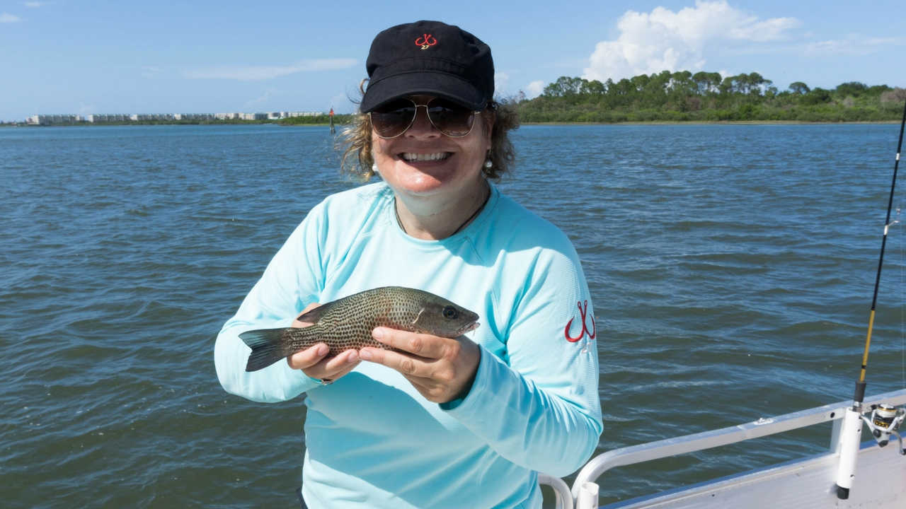 That's Me with One of the Mangrove Snappers I Caught with Capt. Rachael Reynolds, R&R Charters, Daytona Beach, Fla., July 14, 2017.