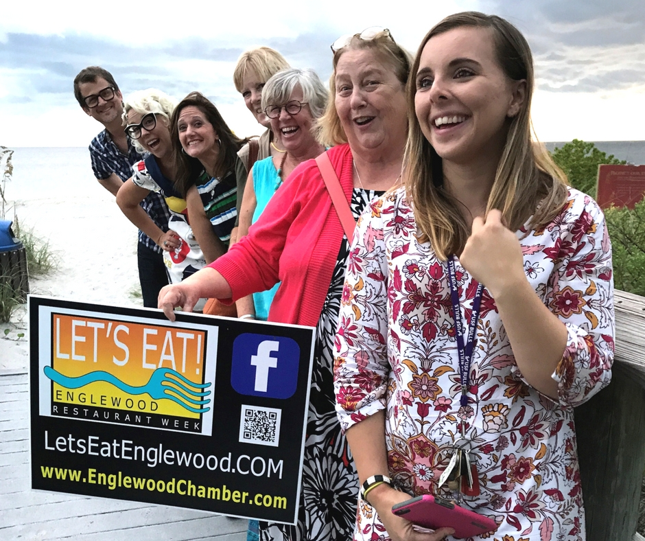 Some of the Members of the Local Media and FoodNetwork's Retro Rad Chef Emily Ellyn Who Had a Preview of Let's Eat! - Englewood Restaurant Week, Sept. 5, 2017, Englewood, Florida.