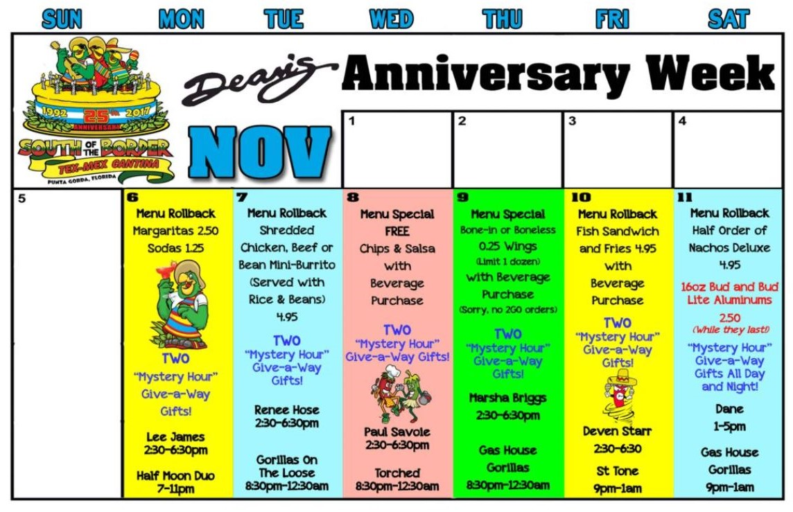 Dean's 25th Anniversary Specials, Nov. 6 - 11, 2017