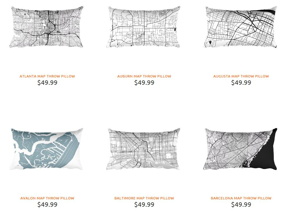 Map Throw Pillows from Modern Map Art