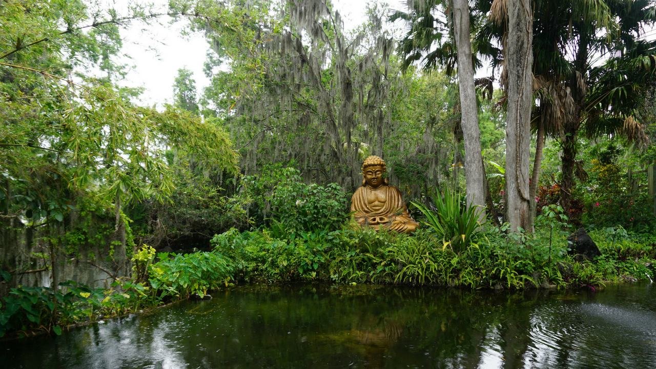 A Gold-Toned Buddha at Cypress Gardens in LEGOLAND Florida Resort.