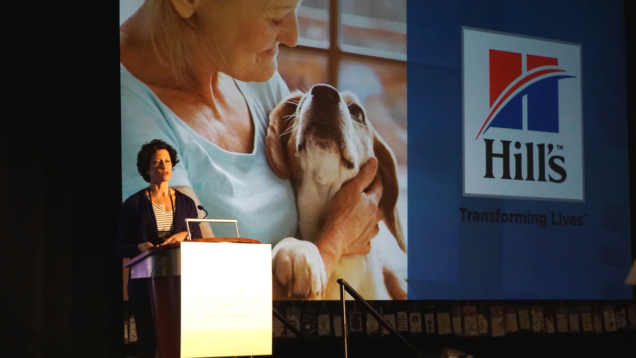 Hill's Pet Nutrition was a Sponsor during BlogPaws 2018 and Joann Fuller, Brand Engagement Manager, Addressed the Audience to Share Accomplishments of the Hill's Disaster Relief Network.