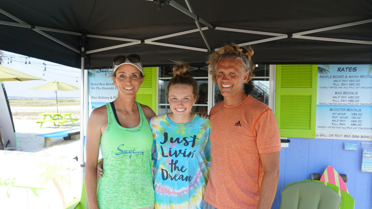 Sage Offutt (Middle) with Her Mother, Linda Joy, and Father, Austin, Sage Paddle Company, Navarre Beach, Fla., May 19, 2018